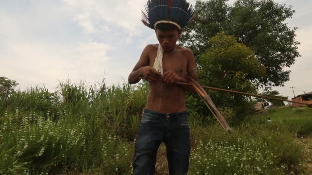 vídeos de stock, filmes e b-roll de a member of the munduruku indigenous tribe prepares an arrow along the tapajos river during a 'caravan of resistance'' protest by indigenous groups... - amazonas state brazil