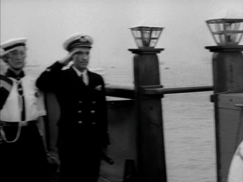 a member of the sea rangers pipes princess margaret on board the english rose at portsmouth harbour 1950 - princess margaret 1950 stock videos and b-roll footage