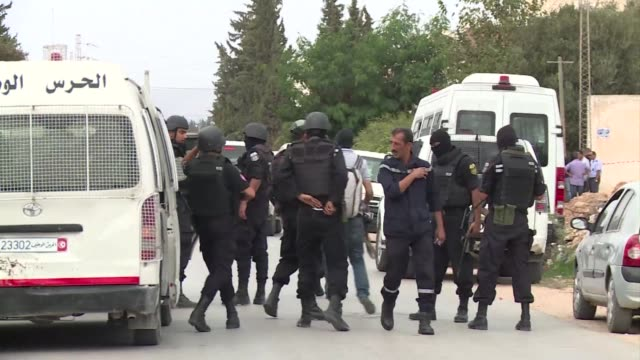 a member of tunisias security forces was killed in a firefight with a terrorist group at its hideout in a town near the capital thursday - thursday stock videos and b-roll footage