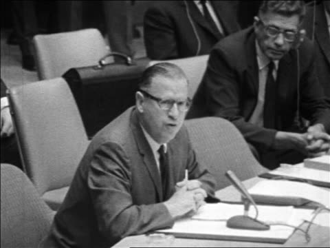 B/W 1967 member of UN Security Council speaking in meeting during Six Day War / NYC / newsreel