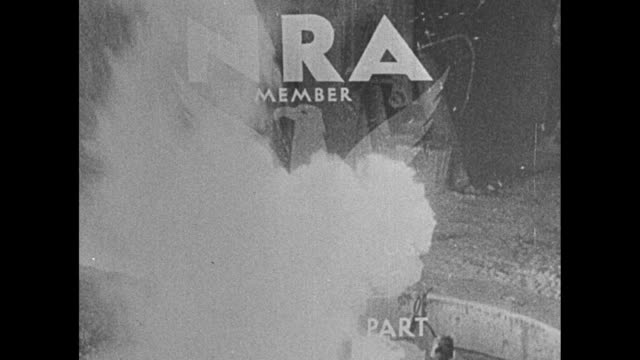 nra member we do our part emblem superimposed on various shots of american industry / women at mechanized loom stamping machines smoke stacks... - new deal video stock e b–roll
