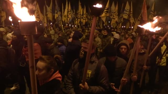 """members and servicemen of the ukrainian national guard """"azov"""" regiment, the azov civil corp and the far-right """"right sector"""" and their supporters... - war stock-videos und b-roll-filmmaterial"""