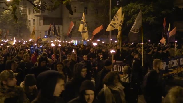 members and servicemen of the ukrainian national guard azov regiment the azov civil corp and the farright right sector and their supporters carry... - regiment stock videos and b-roll footage