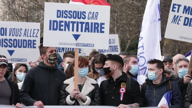FRA: Right-wing Group Generation Identitaire Demonstrates In Paris