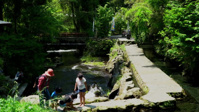 Members of a family enjoying themselves in the foreground at the edge of the Shirakawa Springs, Kumamoto, Japan