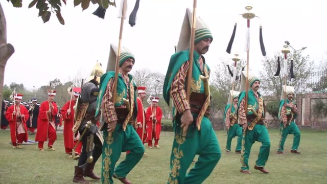 members of a turkish general staff mehter team an ottoman military band perform turkish traditional musics at turkish embassy in islamabad pakistan... - ottoman stock videos & royalty-free footage