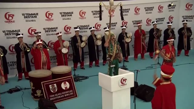 Members of a Turkish general staff Mehter team an Ottoman military band perform during the July 15 Democracy and National Unity Day event at 15 July...