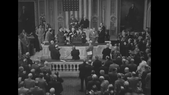 members of congress standing and applauding after winston churchill's speech / churchill shakes hands with speaker of house sam rayburn and vice... - sam rayburn video stock e b–roll