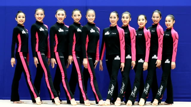 members of fairy japan the country's rhythmic gymnastics team showed off their program for the upcoming rio olympics in tokyo on june 15 japan kaho... - competitive sport stock videos & royalty-free footage