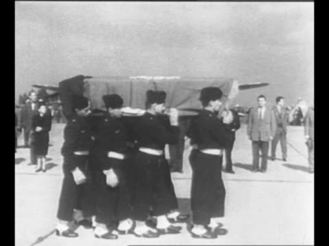 members of french air force carry coffin of count folke bernadotte on their shoulders as he is honored at orly airport after his assassination in... - 1948 stock videos & royalty-free footage