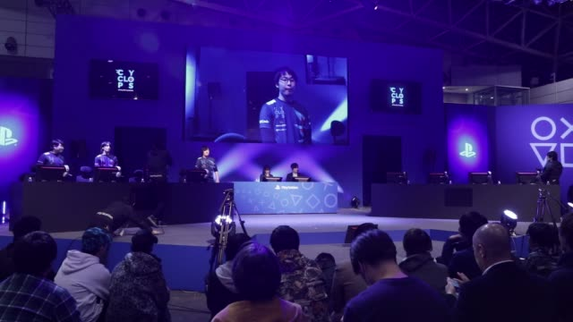 Members of game teams are introduced on stage ahead of playing Activision Blizzard Inc's Call of Duty game during the Tokaigi Game Party Japan...