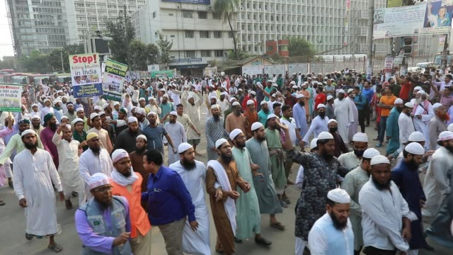 members of islami andolon bangladesh gather in a protest against the communal violence in new delhi dhaka bangladesh march 04 2020 authorities have... - delhi stock videos & royalty-free footage