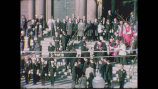 members of john f. kennedy's funeral procession arrive at the cathedral of st. matthew the apostle for the funeral service as jfk's flag draped... - apostle stock videos & royalty-free footage