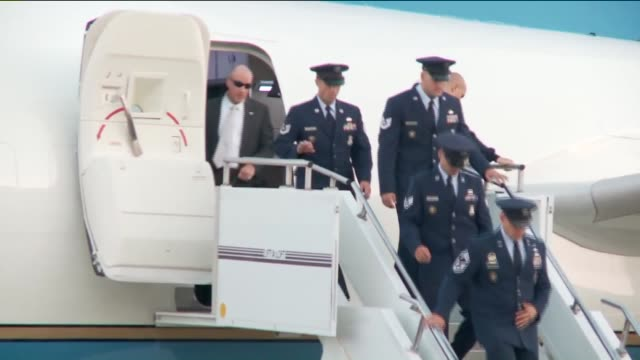 WGN Members of Military Secret Service and Media Exit Air Force One At Tinker Air Force Base on July 15 2015 in Oklahoma City Oklahoma