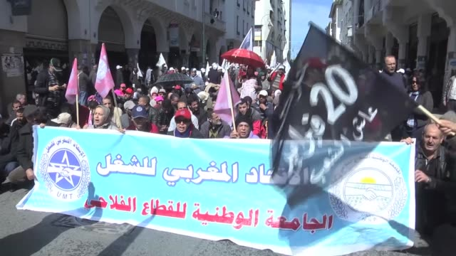 members of moroccan labor unions stage a demonstration to demand better working conditions and protest against a new law raising the retirement age... - new age stock videos & royalty-free footage