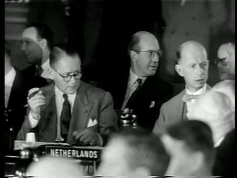 b/w 1949 2 members of north atlantic council talking at nato meeting / one is dirk stikker / doc - 1949 stock videos & royalty-free footage