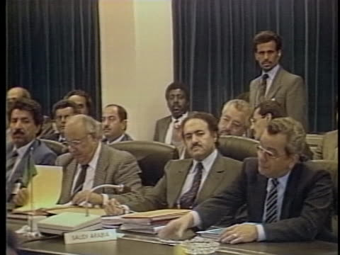 members of opec listen to a speech concerning an agreement on oil production and pricing - (war or terrorism or election or government or illness or news event or speech or politics or politician or conflict or military or extreme weather or business or economy) and not usa stock-videos und b-roll-filmmaterial
