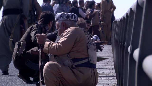 members of peshmerga forces and pkk militants clash with iraqi troops and federal police in central kirkuk iraq on october 16 2017 earlier monday the... - kurdistan workers party stock videos & royalty-free footage