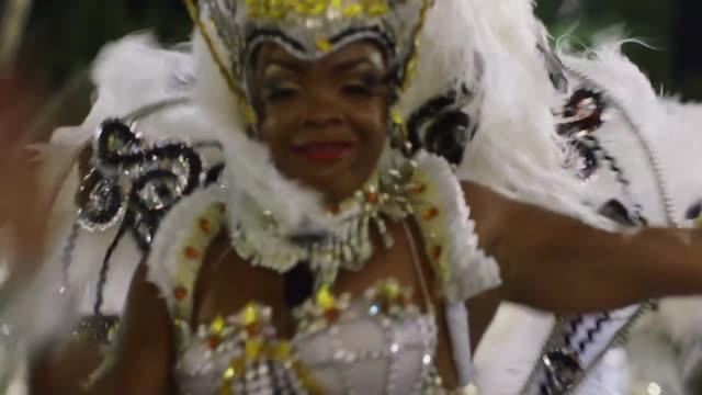 Members of Portela Samba School celebrate during the 2014 Brazilian Carnival at Sapucai Sambadrome on March 04 2014 in Rio de Janeiro Brazil Rio's...