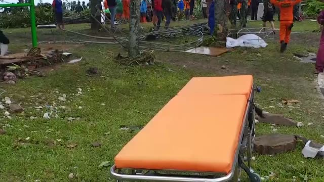 members of rescue team at work in banten, indonesia, on december 24, 2018. over 280 people have reportedly been killed after a volcano-triggered... - indonesia stock videos & royalty-free footage