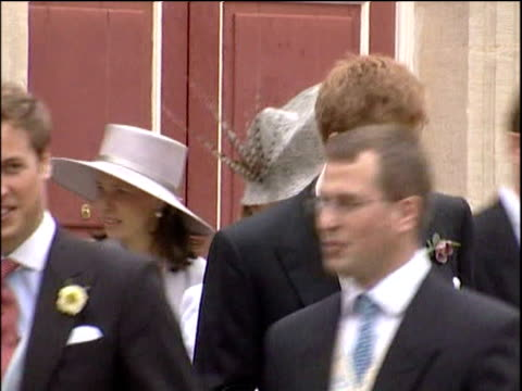 members of royal family and parkerbowles family leave registry office following marriage of prince charles and camilla duchess of cornwall windsor 9... - camilla duchess of cornwall stock videos and b-roll footage