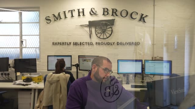 members of smith brock staff answers a phone call at the warehouse on april 07 2020 in london united kingdom smith brock who are best known for... - telecommunications equipment stock videos & royalty-free footage