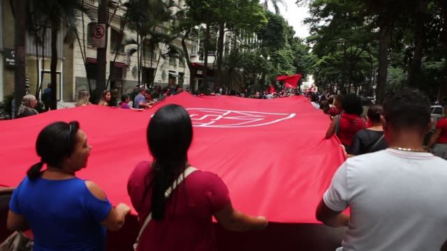 members of social movements linked to the struggle for housing hold a protest on avenida paulista in the center of são paulo brazil in defense of the... - avenida stock videos & royalty-free footage