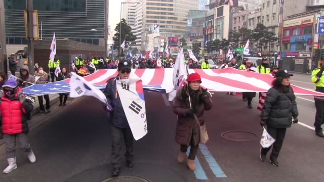 Members of South Korean conservative groups taking part in a rally against North Korea's nuclear power in the city of Seoul capital of the Republic...