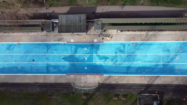members of staff clean and paint the inside of the pool at jesus green lido in cambridge, as outdoor swimming pools prepare to reopen at the end of... - 1923 stock videos & royalty-free footage
