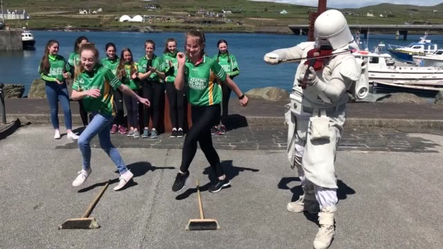 members of the '501st legion ireland garrison' dress as star wars characters travel on a boat trip to skellig michael where scenes from the franchise... - star wars stock videos & royalty-free footage