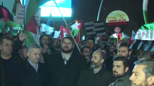 members of the anatolia youth association stage a demonstration to protest us president donald trump's recognition of jerusalem as israel's capital... - anatolia stock videos and b-roll footage