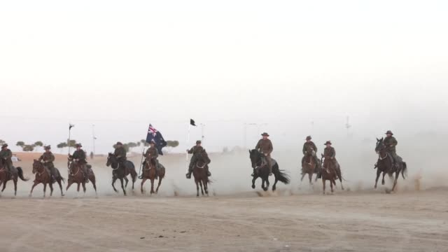 Members of the Australian Light Horse association put on a reenactment in Beer Sheba of the historical fight of the ANZAC where the forces captured...