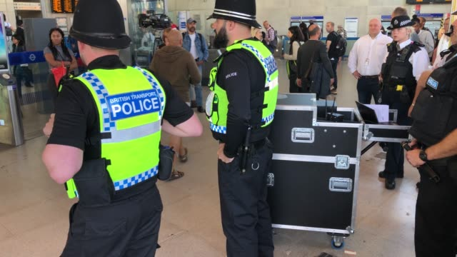 members of the british transport police oversee an operational trial of the thruvision camera system at stratford station on september 17th 2019 the... - kitchen knife stock videos & royalty-free footage