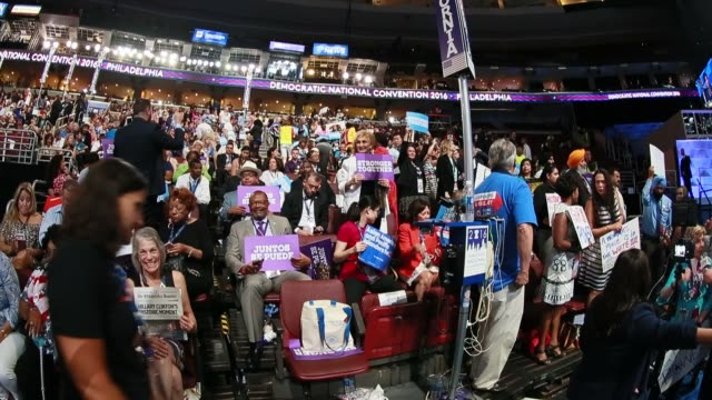 Members of the California delegation listen to speakers inside Wells Fargo Arena on the third day of the Democratic National Convention