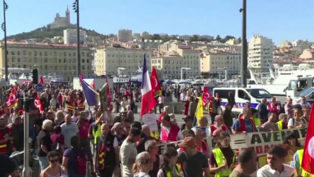 members of the cgt workers union gather in marseille to protest against the french government's planned pension reforms - pension stock videos & royalty-free footage