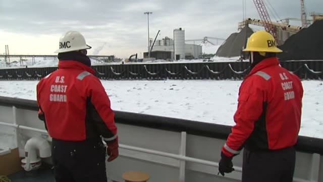 members of the coast guard began an icebreaking operation at navy pier on february 11 2014 in chicago illinois - coast guard stock videos and b-roll footage