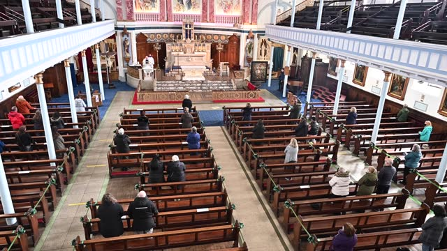 members of the congregation attend the first mass at st marys the second oldest church in glasgow's archdioceses on march 25 in glasgow, scotland. on... - church stock videos & royalty-free footage