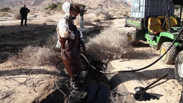 vídeos y material grabado en eventos de stock de members of the environmental team during their cleanup operation for crude oil leaked from a burst pipeline near the southern city of eilat israel on... - limpieza ambiental