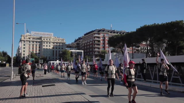 members of the españa resiste civil group parade at plaza de colón , at the time when every year the military parade would celebrate spain's national... - rebellion stock videos & royalty-free footage