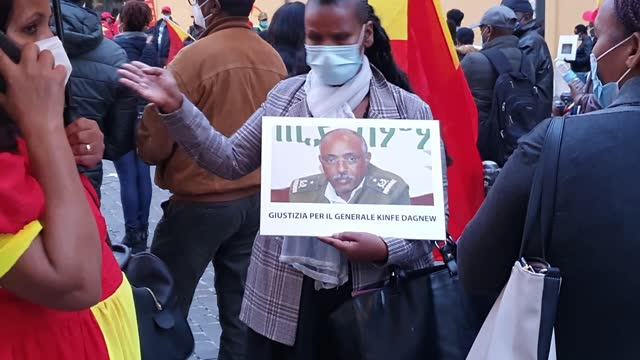 members of the ethiopian community in italy hold a demonstration against ethiopian prime minister abiy ahmed at montecitorio square on november 12,... - ethiopia stock videos & royalty-free footage