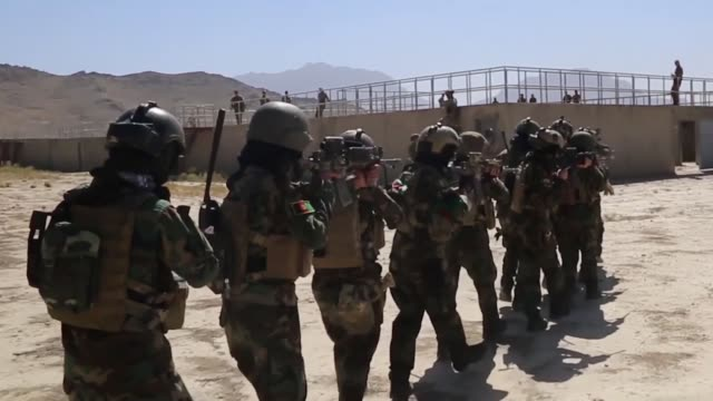 members of the female tactical platoon a femaleonly platoon attached to the elite ktah khas unit of the afghan special security forces displayed... - 付着点の映像素材/bロール