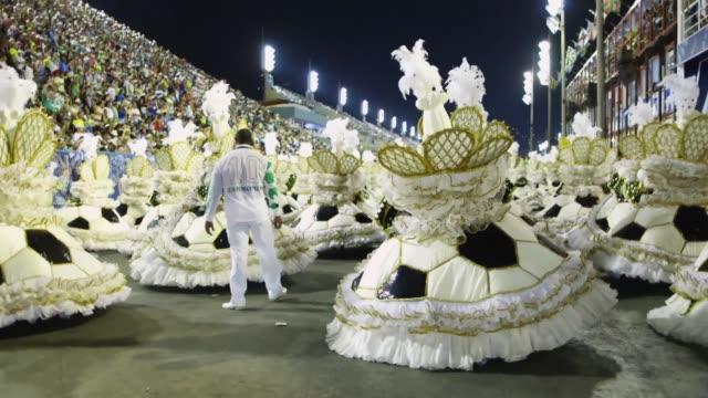 WS Members of the Imperatriz samba school celebrate during the 2014 Brazilian Carnival at Sapucai Sambadrome on March 04 2014 in Rio de Janeiro...