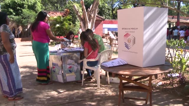 members of the indigenous maka people vote in paraguay where opinion polls give mario abdo benitez of the ruling conservative colorado party a clear... - alegre stock videos & royalty-free footage