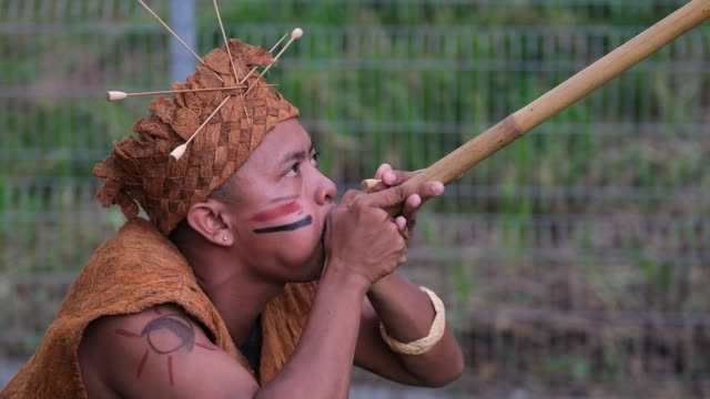 vidéos et rushes de members of the indigenous people of the temuan tribe show his demonstrations with a traditional weapon during the international indigenous art... - malaysian culture