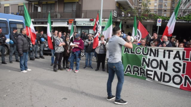 Members of the Italian farright political party Casapound and residents protest against the assignment of a public housing to a Roma family in the...