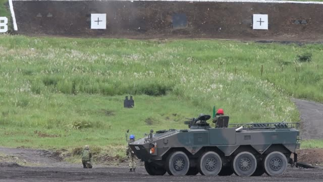 members of the japan ground selfdefense force operate a type 96 wheeled armored personnel carrier during a live fire exercis at the foot of mount... - japan self defense forces stock videos and b-roll footage