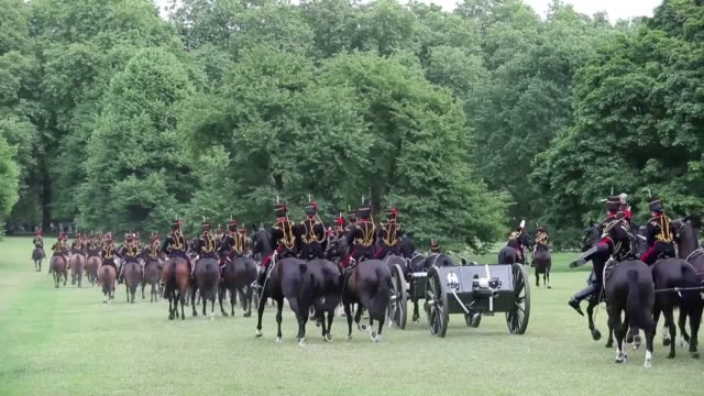 Members of the King's Troop Royal Horse Artillery fire a 41gun salute in Green Park central London to mark the 65th anniversary of the coronation of...