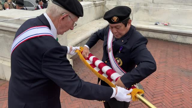 members of the knights of columbus honor guard put away their u.s. flags following a celebration of italian explorer christopher columbus at the... - christopher columbus explorer stock videos & royalty-free footage
