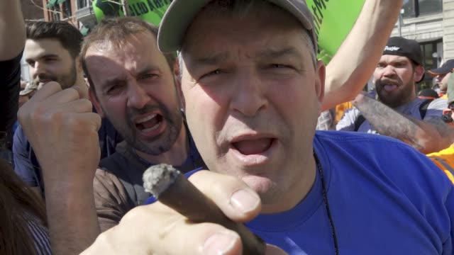 members of the laborers' nyc locals joined with other nyc building construction trades to hold the #countmein solidarity rally in union square... - 50 seconds or greater stock-videos und b-roll-filmmaterial