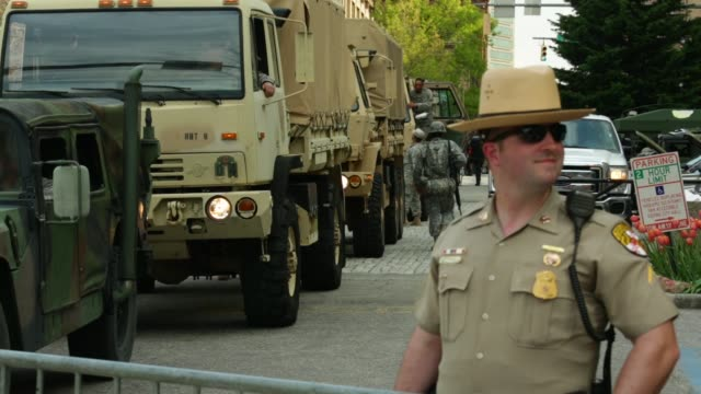 members of the maryland national guard pack up and leave the city hall. baltimore, maryland. may 3, 2015. freddie gray was arrested for possessing a... - maryland us state stock videos & royalty-free footage